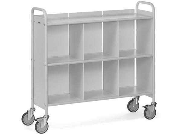 Der robuste Bürowagen ermöglicht den sicheren Transport von schweren Akten, Dokumenten und Arbeitsmaterialien.