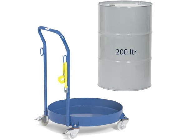 Der geschlossene Fassroller ist speziell für 200 Liter Fässer konzipiert.