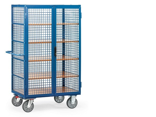 Der Kastenwagen mit Doppelfluegeltueren und Treibriegelverschluss kann Lasten bis 750 kg tragen.