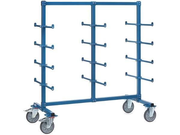 Der Tragarmwagen besitzt 24 Tragarme mit Abrollsicherung - die Tragarme sind mit einer PVC-Hülle umwickelt.