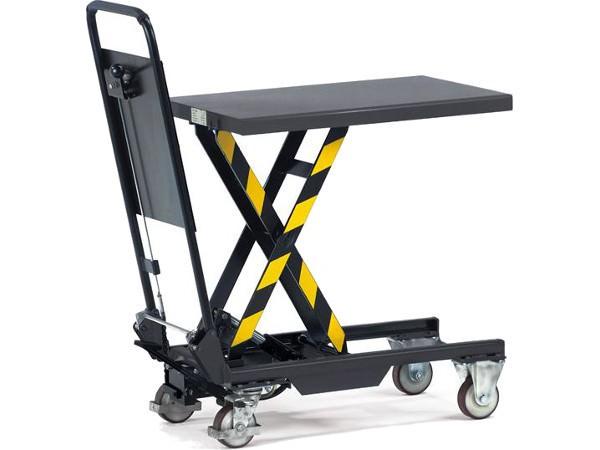 Der einfache Hubtischwagen kann bis zu 150 kg Last heben und senken.