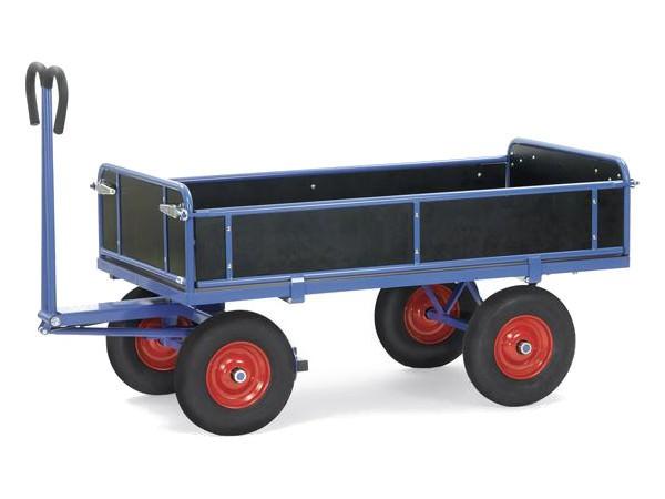 Mit der Vollgummibereifung kann der Wagen schwere Lasten sicher transportieren.