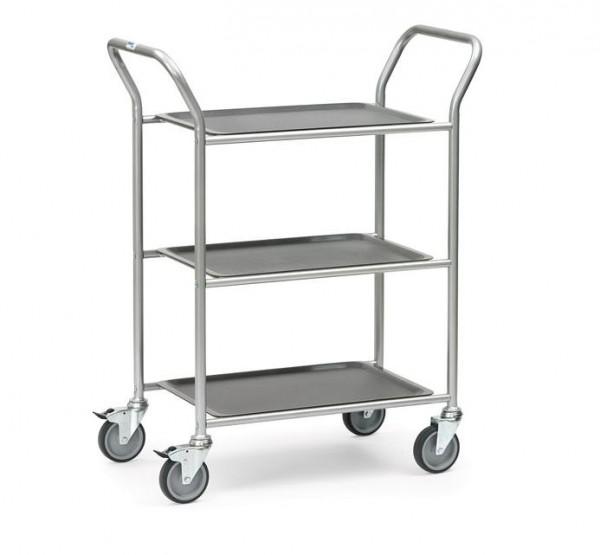 Der Servierwagen 5033 aus Stahl kann auf ingesamt 3 Etagen kleine Lasten sicher von A nach B befördern.