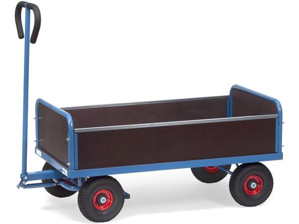 Der praktische Handwagen besitzt zwei feste Stirnwände und zwei herausnehmbare Längswände.