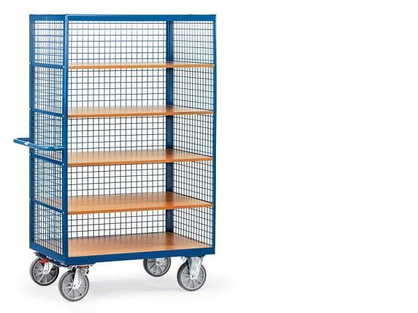 Der Kastenwagen aus Stahl beinhaltet 4 lose Einlegeböden und kann insgesamt bis zu 750 kg tragen.