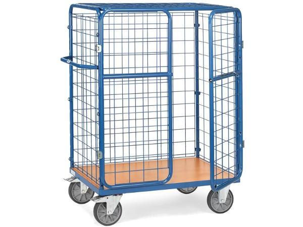 Dieser Paketwagen ist komplett abschließbar und kann Lasten bis 600 kg transportieren.