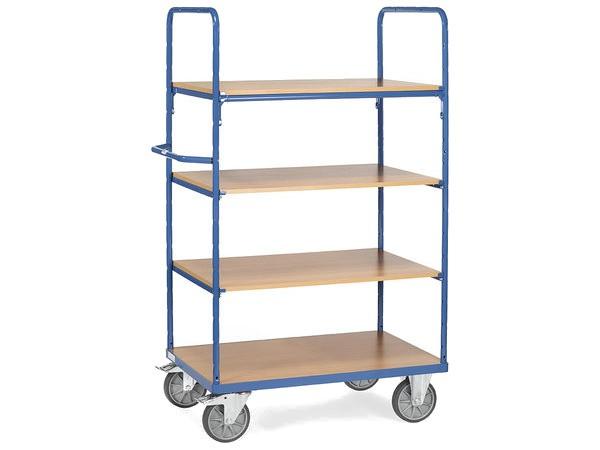 Der praktische Etagenwagen von fetra eignet sich optimal um schwere Lasten bis 600 kg zu tragen.