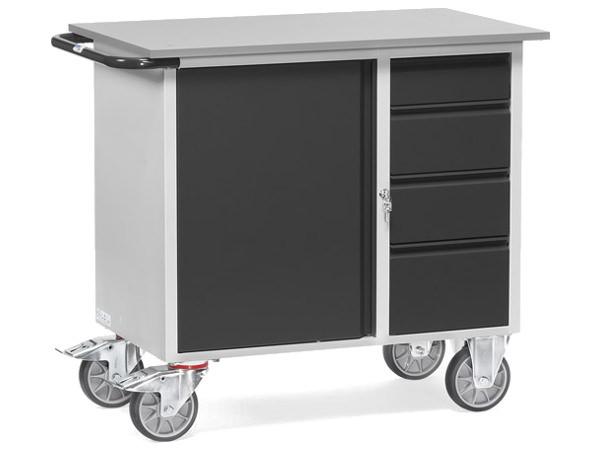 Werkstattwagen aus Stahlblech zum Transport von Lasten bis 400 kg.