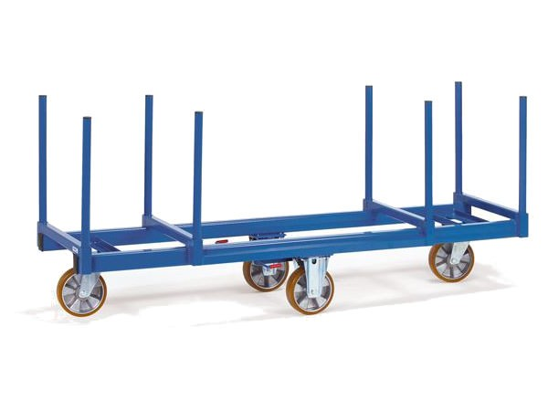 Der robuste Langmaterialwagen kann schwere und unhandliche Lasten bis 1500 kg tragen.