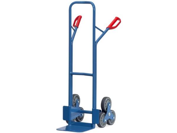 Die dreiarmige Treppenkarre kann Lasten bis 200 kg problemlos tragen.