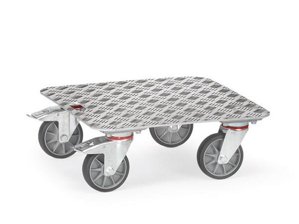 Der superleichte Alu Kistenroller kann zum Transport von Lasten bis 250 kg genutzt werden.