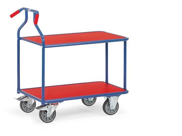Der Optiliner Tischwagen überzeugt durch besonders ergonomische Griffhalterungen.