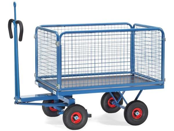 Dieser Handpritschenwagen kann dank der Zugoese an ein Zugfahrzeug oder anderen Transportwagen angekoppelt werden.