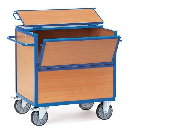 Der Holzkistenwagen mit Deckel kann auf Wunsch mit 2 Vorhängeschlösser abgeschlossen werden.
