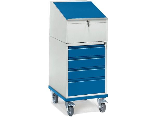 Der Rollschrank ist mit einen Pult-Aufsatz und ingesamt 4 Schubladen ausgestattet.