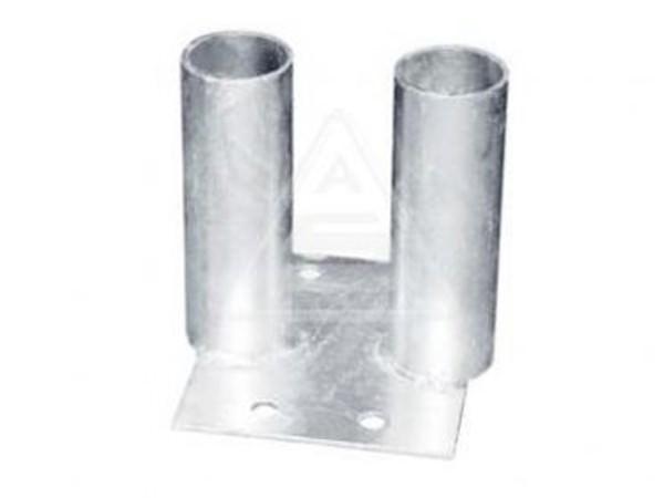 Die Bodenplatte dient als Verbindungselement von 2 Bauzäunen.