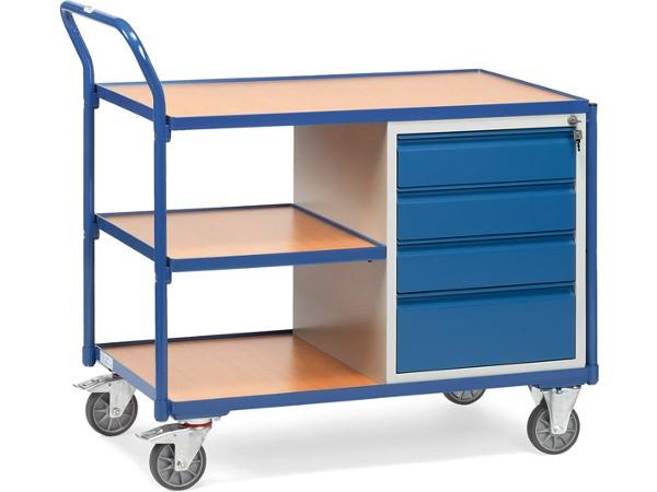 Der leichte Werkstattwagen eignet sich zum Transport von Lasten bis 300 kg.