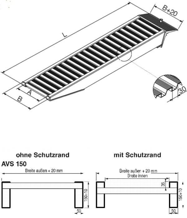 technische-Zeichnung-AVS150-Auffahrrampe-Auffahrschienen