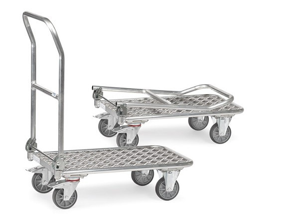 Der praktische Klappwagen aus Alu ermöglicht hohe Tragkräfte bis 200 kg bei einen sehr geringen Eigengewicht.