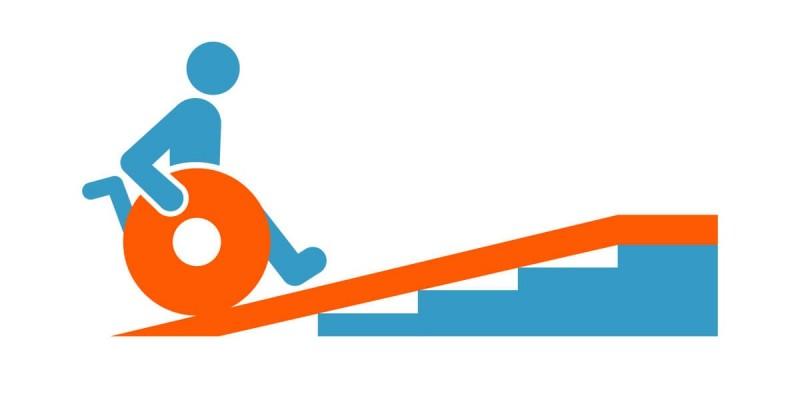 Die Laenge der Rollstuhlrampe ist nicht gleich die Steigungslaenge.