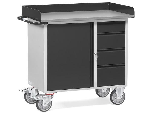 Der schwere Tischwagen vom Typ Grey Edition umfasst ein Schrankfach und 4 Schubladen.