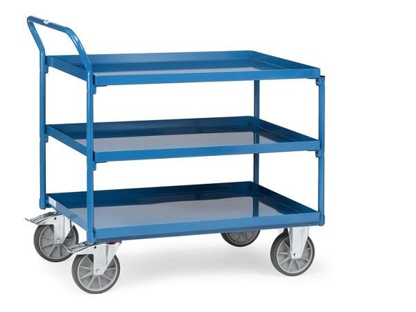 Der Tischwagen besitzt 3 Stahlblechwannen zum Transport von Lasten bis 400 kg.