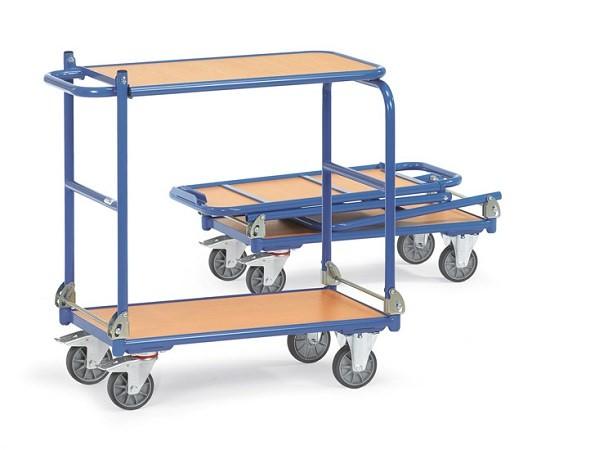 Der Klappwagen mit Tischplattform eignet sich perfekt zum Transport und als Arbeitsplattform. Dank der Klappfunktion kann dieser Wagen im Auto transportiert werden.