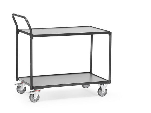 Der Tischwagen Grey Edition mit 2 Etagen eignet sich gut zum Transport von Werkzeugen, Kisten und anderen Lasten.