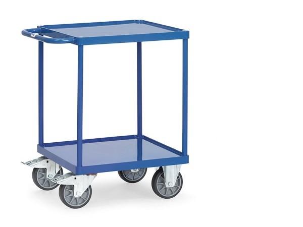 Der Tischwagen besitzt eine Ladeflaeche von 600 x 600 und beide Wannen bestehen aus Stahlblech.