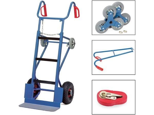Der robuste Gerätekarren beinhaltet zwei Treppensterne, einen Spanngurt und einen Tragholm.