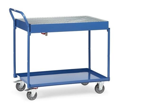 Der Tischwagen mit Wanne und Gitterrost eignet sich als Transportwagen und Arbeitswagen.