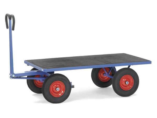 Der Handpritschenwagen besitzt eine Vollgummibereifung und kann auf Wunsch mit der pannenfreien PU-Bereifung ausgeliefert werden.