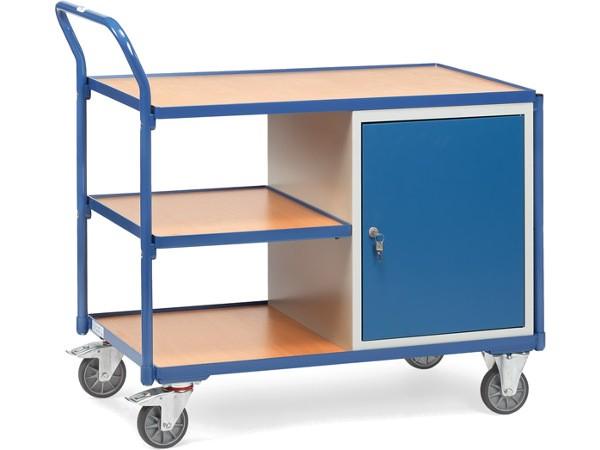 Der praktische Werkstattwagen verfügt über einen Schrank (abschließbar) und 3 Ladeflächen.