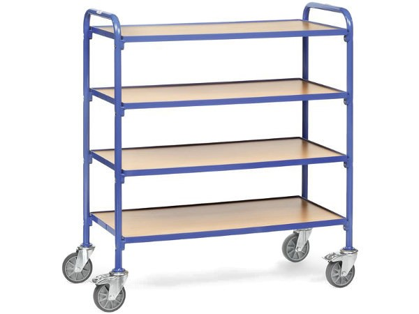 Der praktische Beistellwagen umfasst 4 Ladeflächen worauf viele Gegenstände Platz finden.