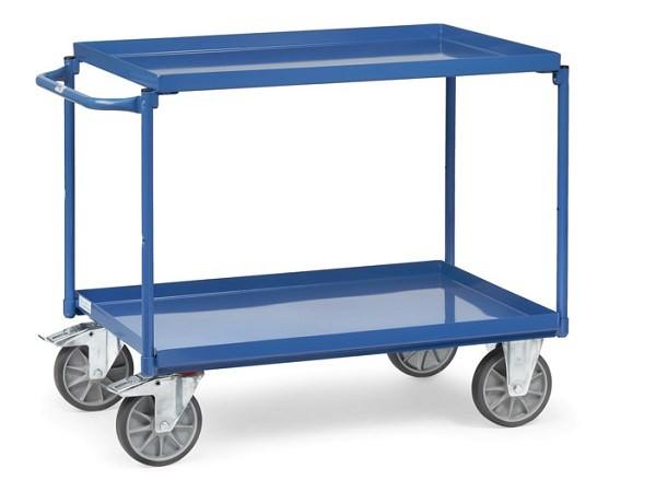 Der Tischwagen von Fetra ist mit 2 Wannen ausgestattet - dank dieser Wannen können Kleinteile nicht vom Wagen fallen.