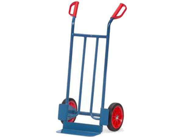 Der mit Vollgummibereifung ausgestattete Karren kann schwere und unhandliche Lasten bis 250 kg tragen.