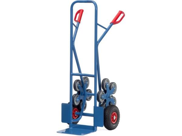 Die robuste Treppenkarre aus Stahl besitzt zwei fünfarmige Rad-Sterne.