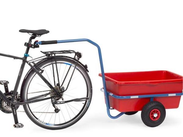 Die Kupplung mit Deichsel ermöglicht es kleine Handwagen am Fahrrad zu befestigen.