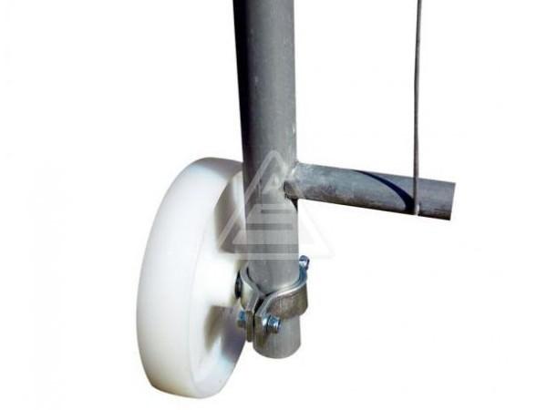Die Laufrolle mit Ø 200 mm ist speziell für Mobilzaun-Torelemente konzipiert.
