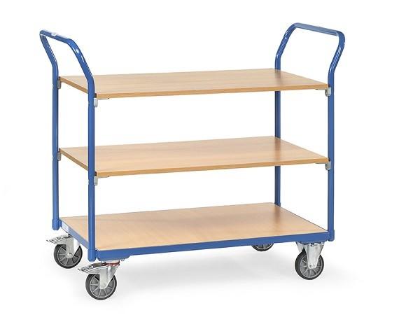 Dieser Tischwagen kann auf 3 Böden Lasten von insgesamt 200 kg transportieren - damit eignet sich dieser Wagen perfekt zum Transport von Werkzeugen oder Arbeitsmaterialien.