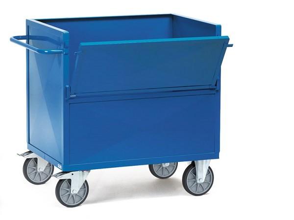 Der Blechkastenwagen aus pulverbeschichteten Stahlblech ermöglicht den Transport von Lasten bis 600 kg.