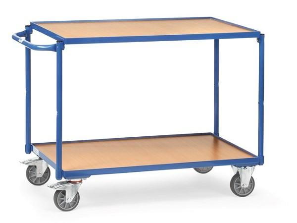 Der praktische Tischwagen umfasst 2 Ladeflächen und ist damit geeignet viele unhandliche oder schwere Gegenstände von A nach B zu transportieren.