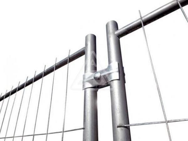Die robuste Verbindungsschelle eignet sich um zwei Mobilzäune miteinander zu verbinden.