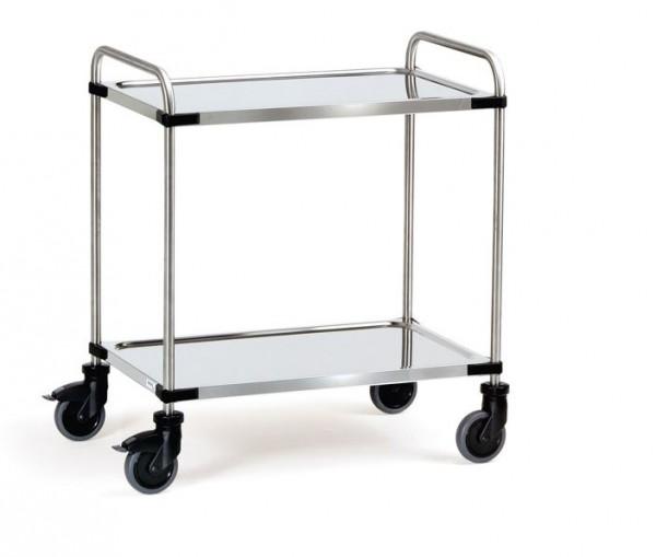 Der praktische Edelstahlwagen ist besonders für sehr hygienische Aufgaben geeignet.