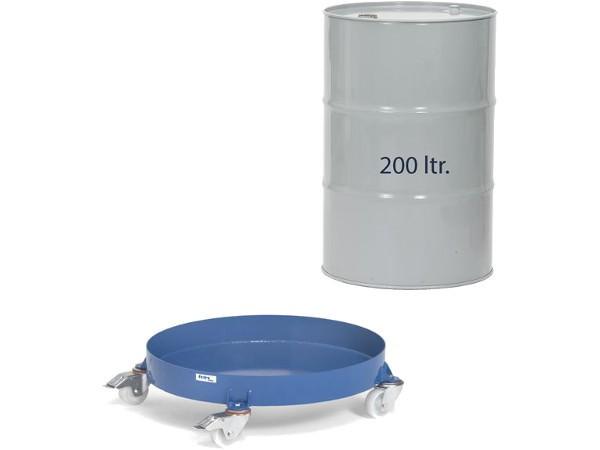Der Fassroller 1361 ist die geschlossene Ausführung für 200-Liter-Fässer.