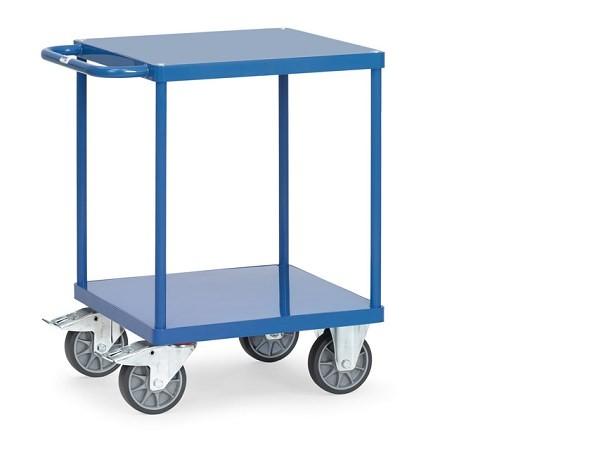 Der Tischwagen besitzt eine Ladeflaeche von 600 x 600 und beide Boeden bestehen aus Stahlblech.