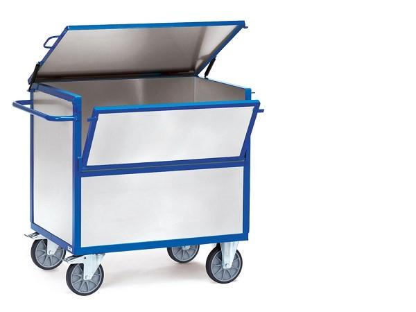 Der Blechkastenwagen mit Deckel eignet sich optimal zum Transport von schweren Lasten bis 600 kg.