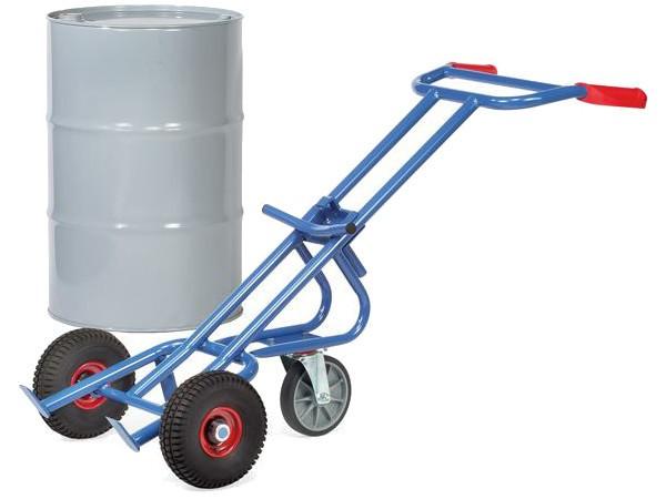 Der robuste Fasskarren kann schwere Fässer bis 200 Liter bzw. 300 kg tragen.
