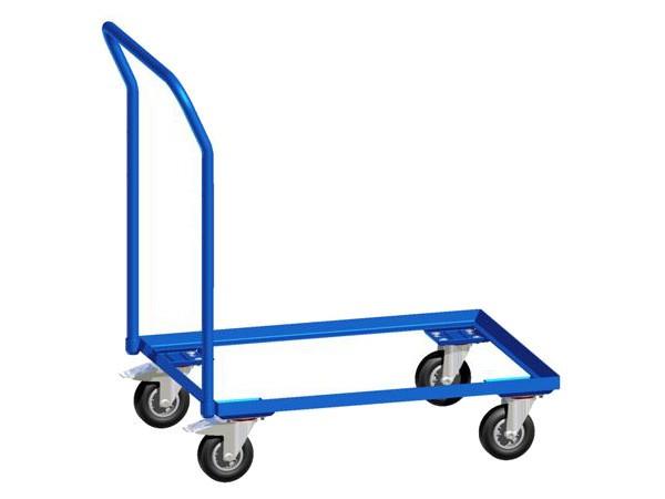 Der robuste Eurokasten-Roller kann schwere Lasten problemlos transportieren.