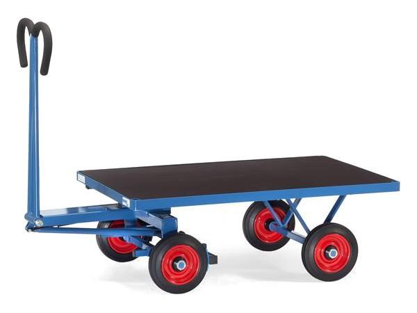 Der Handpritschenwagen besitzt eine Vollgummibereifung und kann bis zu 700 kg Last tragen.